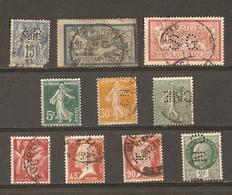 France - PERFORES - PERFINS - Petit Lot De 10° - Semeuse - Pasteur - Merson - Sage - Paix - Pétain - Stamps