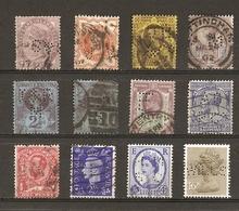 Grande-Bretagne - PERFINS - PERFORES - Petit Lot De 12° - Stamps