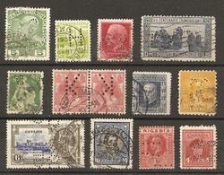 Monde - PERFORES - Petit Lot De 13° - Autriche - Danemark - Italie - Suisse - Pays-Bas - USA - Ceylan - Chili - Nigeria - Timbres