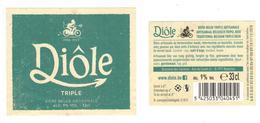 Etiquette Bière Diôle Triple 33 Cl Brasserie Des Carrières, Basècles Bier Etiket Beer New Label Front + Back - Bière