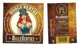 Etiquette Bière Douce Vertus 33 Cl Brasserie Millevertus, Breuvanne Bier Etiket Beer Label Front + Back - Beer