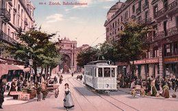 Zürich, Bahnhofstrasse, Tramway Et Marché (1614) - ZH Zurich