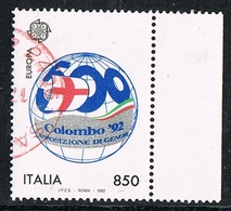 1992 - ITALIA / ITALY - EUROPA CEPT - LA SCOPERTA DELL'AMERICA / DISCOVERY OF AMERICA - USATO / USED. - Europa-CEPT