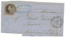1863 BRIEF VAN FONTAINE=L'EVEQUE NAAR MARCHIENNE AU PONT MET COB 14 ZIE SCAN(S) - 1863-1864 Medaillons (13/16)