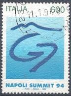 """Italia, 1994 Vertice Del """"G7"""", 600L # Sassone 2123 - Michel 2343 - Scott 1996  USATO - 1946-.. République"""