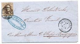 1860 BRIEF VAN LA LOUVIERE NAAR STREPY BRACQUEGNIES MET COB 10? ZIE SCAN(S) - 1858-1862 Médaillons (9/12)