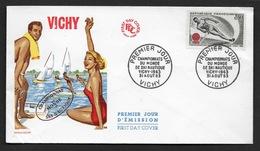 FRANCE N° 1395 (YT) SKI NAUTIQUE ENVELOPPE  FDC 1963  CàD De VICHY CHAMPIONNATS DU MONDE - France