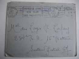 Le Havre Hopital Pasteur Corrier  Cachet Franchise Postale Guerre 14.18 - Postmark Collection (Covers)