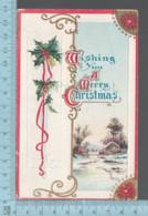 CPA -  Wishing You A Merry Christmas, Winter Scene Gui, Houx, Cover Brandon Man. C:1910  Canada  Stamp # 104 - Noël