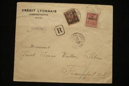 Perfin Lochung  Sage Perforé Cl Sur Lettre Recommandée Chargée Constantinople Turquie Crédit Lyonnais 12/10/1894 - Perfins