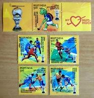 2018 India Hockey World Cup 5 Mint Stamps Tab India Sports Ball Turtle Sea Animal Turtle Unusual Inde Indien - Hockey (Veld)