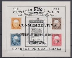 GUATEMALA 1974 FOOTBALL WORLD CUP 2 S/SHEET BLACK AND RED OVERPRINT - Fußball-Weltmeisterschaft
