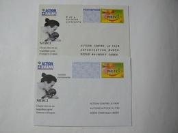 PRET à Poster Réponse & POSTREPONSE, Timbre MERCI, 2 Enveloppes Neuves, TB. - Entiers Postaux