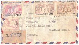 PARAGUAY ENVELOPPE SAN LORENZO 1975 BI CENTENARIO DE FUNDACION RECOMMANDE CACHET V° Vers OBERKIRCH ALLEMAGNE - Panama