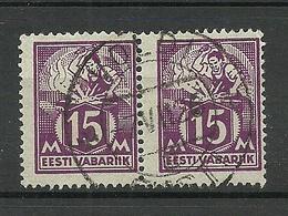ESTLAND Estonia O VOLDI 1925 Michel 58 In Pair - Estonie