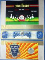 GASTRONOMIE CUISINE FOIE GRAS SUITE DE SIX ETIQUETTES GLACEES ET RICHEMENT  ILLUSTREES VERS 1950 - Advertising