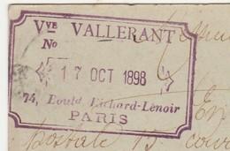 Carte Commerciale 1898 / Entier / Vve VALLERANT / Meubles / 74 Bd Richard Lenoir / 75 Paris - Cartes