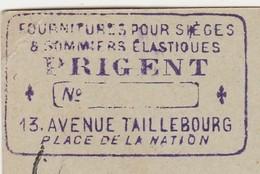 Carte Commerciale 1898 / Entier / PRIGENT / Sièges & Sommiers élastiques / 13 Av Taillebourg / 75 Paris - Cartes