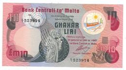 Malta 10 Liri, P-36a, AUNC - Malte