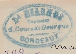 Carte Commerciale 1896 / Entier / Ed Béarnes / Tapissier / 1 Cour De Gourgue / 33 Bordeaux - Cartes