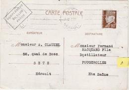 Carte Commerciale 1942 / Entier Pétain 80 C + Compl Taxe Perçu / CLAUZEL / Vins / 34 Sète Hérault - Cartes
