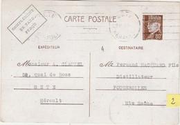 2 - Carte Commerciale 1942 / Entier Pétain 80 C + Compl Taxe Perçu / CLAUZEL / Vins / 34 Sète Hérault - Cartes