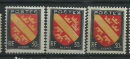 [25] Variété :   N° 756 Blason Alsace Rose + Rouge + Rouge Foncé ** - Varieties: 1945-49 Mint/hinged
