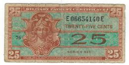 USA, MPC , 25 Cents Series 521. VG - Military Payment Certificates (1946-1973)