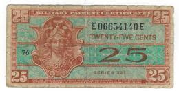 USA, MPC , 25 Cents Series 521. VG - Certificats De Paiement Militaires (1946-1973)