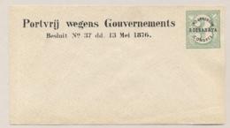 Nederlands Indië - 1876 - Ind. Landbouw Congres Soerabaya - Moquette Envelop - Groen Op Grijs - Nederlands-Indië