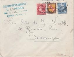 """Enveloppe Commerciale L. LEPRINCE / """"Aux Grandes Fabriques""""/ 22 Dinan / Cachet Daguin Publicité - Cartes"""