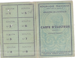 CARTE D'ELECTEUR- RF- LA CRAU VAR   1948 - Cartes