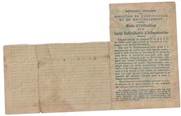 CARTE INDIVIDUELLE D'ALIMENTATION -ISERE-MURIANETTE N°40- 1918 - Cartes