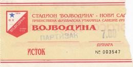 Ticket FC FK Vojvodina Novi Sad FC FK Partizan Beograd Belgrade 1994/95 Football Match - Tickets D'entrée