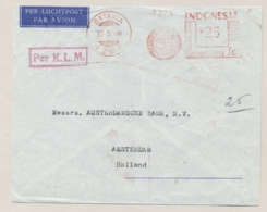 Nederlands Indië - 1949 - 25 Sen Roodfrankering NHM, Machine 210 Op Cover Van Batavia Naar Amsterdam / Nederland - Netherlands Indies