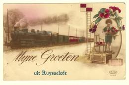 #10426[Postkaart] Myne [mijne Mijn] Groeten Uit Ruysselede [opdruk]. P.F.G. 2083 Ruiselede Aalter Stoomtrein Fantasie - Ruiselede