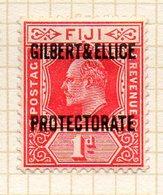 OCEANIE - GILBERT & ELLICE - (Protectorat Britannique) - 1911 - N° 2 - 1 P. Rouge - (Timbre De FIDJI) - Timbres