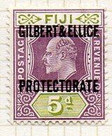OCEANIE - GILBERT & ELLICE - (Protectorat Britannique) - 1911 - N° 5 - 5 P. Violet-brun Et Vert - (Timbre De FIDJI) - Timbres