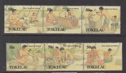 1990 Tokelau  Men's Handicrafts Canoe Building Complete Set Of 2 Strips Of 3  MNH - Tokelau