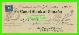 CHÈQUES - THE ROYAL BANK OF CANADA, COATICOOK BRANCH IN 1941 - DIMENSION 21,5 X 30 Cm - - Assegni & Assegni Di Viaggio