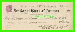 CHÈQUES - THE ROYAL BANK OF CANADA, COATICOOK BRANCH IN 1941 - DIMENSION 21,5 X 30 Cm - - Chèques & Chèques De Voyage