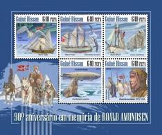 Guinea Bissau 2018, Explorer, Amundsen, Owl, Penguins, 5val In BF - Penguins