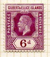OCEANIE - GILBERT & ELLICE - (Protectorat Britannique) - 1912 - N° 19 - 6 P. Violet-brun Et Lilas - (Timbre De FIDJI) - Timbres