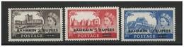 BAHRAIN POSTAGE 1955 -1960 QUEEN ELIZABETH MNH 2, 5 & 10 Rupees Great Britain FULL SET Castle Stamps Surcharged - Bahreïn (1965-...)