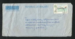 Malawi 1989 Air Mail Postal Used Aerogramme Cover Malawi To Pakistan Airline  Airplane - Malawi (1964-...)