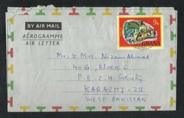 Ghana 1968 Air Mail Postal Used Aerogramme Cover Ghana To Pakistan Chameleon Animal Stamps - Ghana (1957-...)
