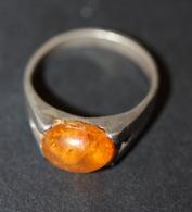 Bague Vintage Avec Cabochon D'ambre Argent 925 - 2.8gr - Silver Sterling Amber Ring - Rings