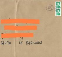 2 Marianne L'engagée Yseult YZ Roulette Lettre Verte + Cachet Manuel La Poste 42618A - 2018-... Marianne L'Engagée