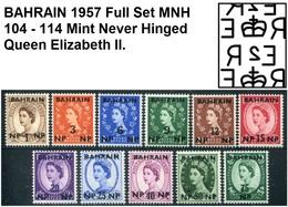 BAHRAIN POSTAGE 1957-1959 QUEEN ELIZABETH II - OVERPRINT Full Complete Set STAMP MNH ** SG 102 - 112 - Bahreïn (1965-...)