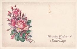 AK Rote Rosen - Glückwunsch Zum Namenstage - 1957 (37995) - Blumen